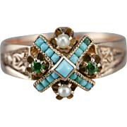 Lovely Turquoise, Garnet, and Cultured Seed Pearl Dinner Ring