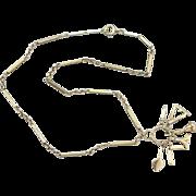Rare 14K Antique Rose Gold Masonic Symbols Necklace, Plumb Bob, Square, Trowel, and More