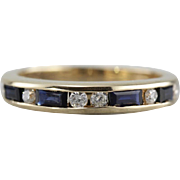 Sapphire and Diamond Anniversary Band, Elegant Navy Blue and White Gemstone Ring for Stacking or Bridal Wear