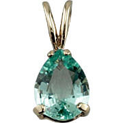 Crocodile Tears, Pear Cut Emerald Pendant, Bright Green Colombian Emerald