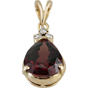 Deep Red Teardrop Garnet and Diamond Pendant in 14K Yellow Gold, Wonderful Gift for Christmas or Valentines