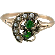 Upcycled Demantoid Garnet and Seed Pearl Crescent Ring