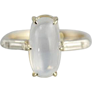 Clear Oval Moonstone in Classic Two-Tone Setting