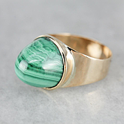 Malachite High Dome 18 Karat Gold Statement Ring, Vintage Malachite Bullet Ring