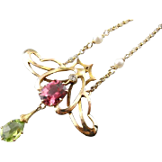 Gorgeous Tourmaline, Diamond and Cultured Pearl Necklace