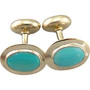 Vintage Turquoise Cufflink in Polished 14K Yellow Gold