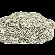 10K White Gold Brooch, Art Deco Bridal Pin