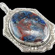 Upcycled Filigree Chrysocolla Pendant