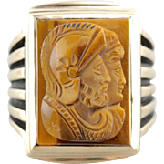 Fantastic Carved Tiger's Eye Cameo, Vintage Men's Statement Ring