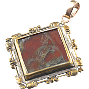 Beautiful Carnelian Moss Agate in Ornate Frame, Vintage Agate Pendant