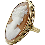 Upcycled Oval Cameo Cocktail Ring