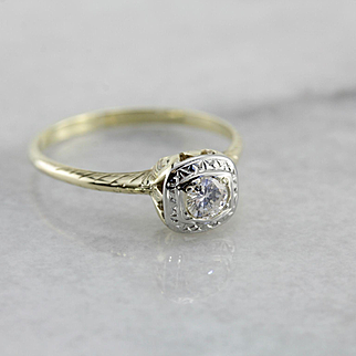 Upcycled Filigree Diamond Engagement Ring