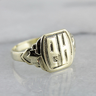 Amazing PH Monogrammed Retro Era Signet Ring