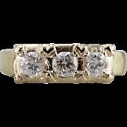 Three Diamond Anniversary Ring with Pretty, Simple Motifs