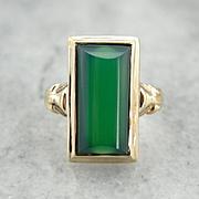 Vintage Green Onyx Ladies Ring in Elegant Retro Era 10K Gold Setting