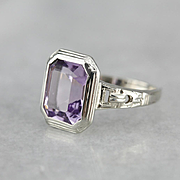Art Deco Amethyst Cocktail Ring, Vintage Amethyst Ring