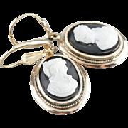 Elegant Onyx Black and White Cameo Gold Drop Earrings
