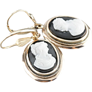 Elegant Onyx Black and White Cameo Gold Drop Earrings