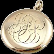 Victorian Monogrammed Locket Pendant in Polished 14K Gold