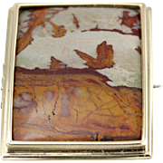 14K Yellow Gold Rectangular Brooch with Stunning Landscape Jasper