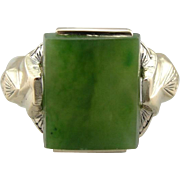 Upcycled Jade Ring, Small Enough for Pinky Ring or Ladies Hand