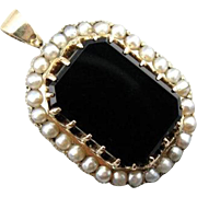 Georgian Onyx And Cultured Pearl Pendant