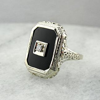 Black Onyx and Diamond Cocktail Ring in White 14K Gold Art Deco Filigree Setting