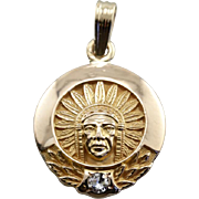Unusual Native American Chief Pendant or Charm, Beautiful Stamping
