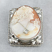 Vintage Floral Filigree Cameo Brooch Pendant with Diamond Accent