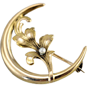 Crescent Moon Brooch with Iris Flower and Seed Pearl