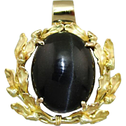 Spectrolite Cat's Eye Pendant with Leaf Design, Black Stone in Yellow 14K Gold