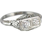 Fine Filigree Double Diamond Ring