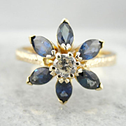 Vintage Sapphire and Diamond Daisy Ring, Unique Cluster Style