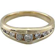 Modernist Channel Set Diamond Band by ArtCarved, Gorgeous Vintage 14K Yellow Gold Ring for Stacking or Bridal Wear