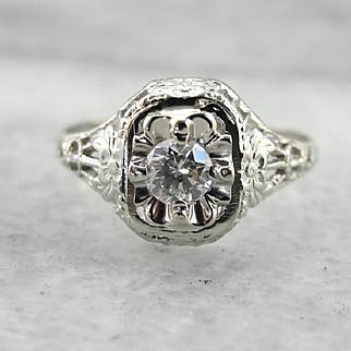 Diamond Promise Ring, 1920's Art Deco Filigree Diamond Ring
