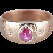 Star Ruby Diamond Rose 14 Karat Gold Engraved Band
