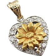 A Heart Filled with Flowers, Vintage Diamond and 14K Gold Pendant