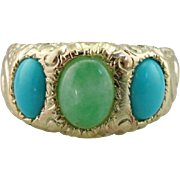 Jade and Persian Turquoise Carved Three Stone Band or Ring