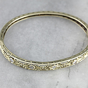 Diamond Art Nouveau Filigree Bracelet, Green 14 Karat Gold Bangle