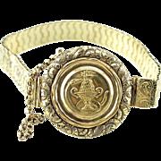 Antique Garden of Eden Repousse Green 14K Gold Bracelet, Art Nouveau Bracelet, Antique Dieges and Clust Bracelet