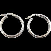 Sleek 18K White Gold, Hollow Hoop Earrings