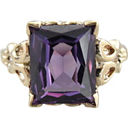Mid Century Synthetic Alexandrite Cocktail Ring