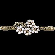 Art Nouveau Enamel Daisy Bar Pin, Antique Floral Brooch, Estate Jewelry