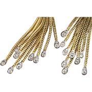 Stunning Diamond Tassel Drop Earrings, Vintage Luxury