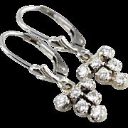 Vintage Diamond Cluster Drop Earrings in 14K White Gold