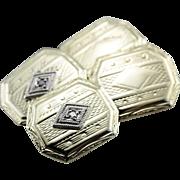 Dapper Diamond Etched 1930's Cufflinks