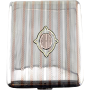 "Late Art Deco Monogramed ""MHN"" Cigarette Case, Solid Sterling Silver with Rose & Yellow 14K Gold Accents"