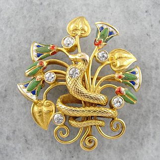 1910's Enameled Snake Brooch with Diamond Accents, Art Nouveau Egyptian Revival