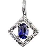 Modernist Geometry: Sapphire and Diamond Halo Drop Pendant