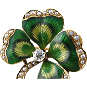 Lucky Clover, Art Nouveau Diamond, Cultured Seed Pearl and Enamel Pin